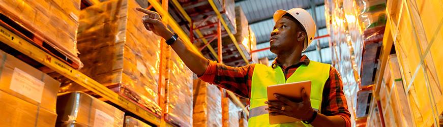 Magasinier dans un entrepôt de stockage pointant du doigt des palettes de cartons